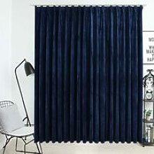 Blackout Curtain with Hooks Velvet Dark Blue