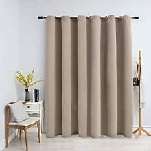 Blackout Curtain with Metal Rings Beige 290x245