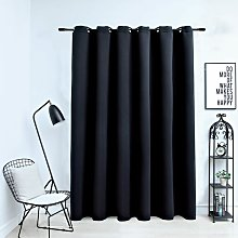 Blackout Curtain with Metal Rings Black 290x245 cm