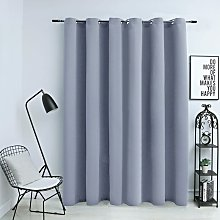 Blackout Curtain with Metal Rings Grey 290x245