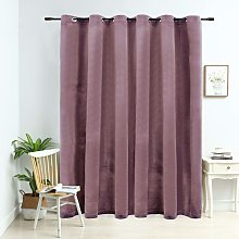 Blackout Curtain with Metal Rings Velvet Antique