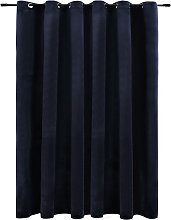 Blackout Curtain with Metal Rings Velvet Black