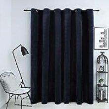Blackout Curtain with Metal Rings Velvet Black