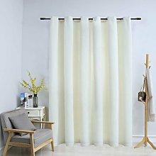 Blackout Curtain with Metal Rings Velvet Cream