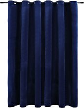 Blackout Curtain with Metal Rings Velvet Dark Blue