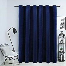 Blackout Curtain with Metal Rings Velvet Dark Blue