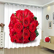 Blackout Curtains 3D Bunch of Roses Printing