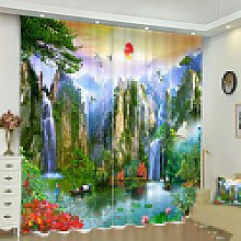 Blackout Curtains 3D Landscape Printing Thermal