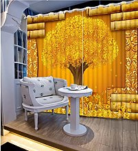Blackout Curtains-3D Printed Gold Money Tree