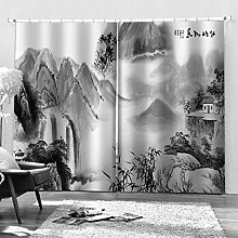Blackout Curtains-3D Printed Hand Painted Mountain