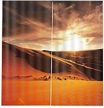 Blackout Curtains-3D Printed Orange Desert