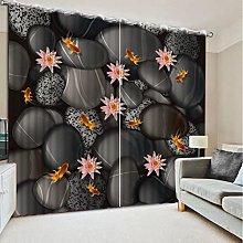 Blackout Curtains-3D Printed Stone Flower Blackout