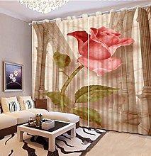 Blackout Curtains-3D Printed Vintage Red Rose