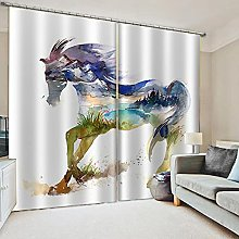 Blackout Curtains-3D Printed Watercolor Horse