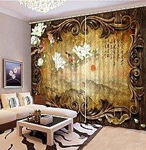 Blackout Curtains-3D Printed White Magnolia Flower