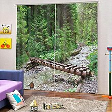 Blackout Curtains-3D Printed Wooden Bridge Forest