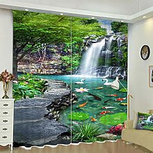 Blackout Curtains 3D Waterfall Printing Thermal