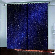 Blackout Curtains Blue Night Sky With Stars Eyelet