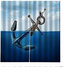 Blackout Curtains Blue Sea Fish Hook Window