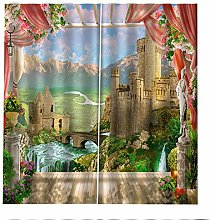 Blackout Curtains Castle Waterfall Window Curtain