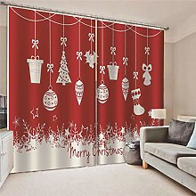 Blackout Curtains Christmas ornaments on red