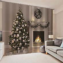 Blackout Curtains Christmas tree and stove Living