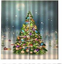 Blackout Curtains Christmas Tree Snowflakes Window
