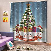 Blackout Curtains Christmas tree with gifts Living