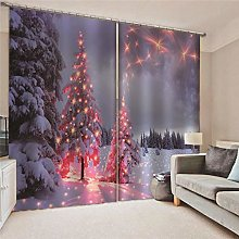 Blackout Curtains Christmas tree with red lights