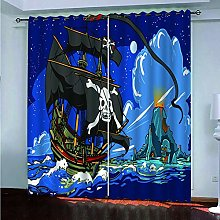 Blackout Curtains for Bedroom Blue Pirate Ship