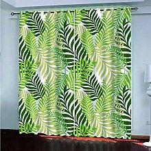 Blackout Curtains for Bedroom Green Leaf Print