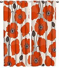 Blackout Curtains for Bedroom Orange Beige Flowers