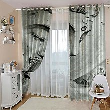 Blackout Curtains Grey Compassionate Buddha 3D