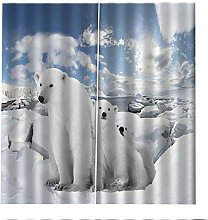 Blackout Curtains Polar Bear Animal Snow Window