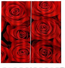 Blackout Curtains Red Rose Window Curtain Super