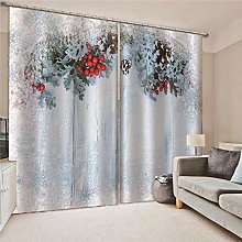 Blackout Curtains Snow scene red fruit Living room