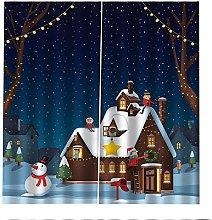 Blackout Curtains Snowman Christmas Hut Window