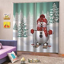 Blackout Curtains Snowman with red hat skiing