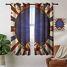 Blackout Curtains Vintage,Circus Theme Retro