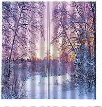 Blackout Curtains White Snow Forest Window Curtain