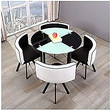 blackRound Dining Table and Chair Set Home Dining