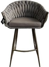 Blake Fabric Bar Stool With Faux Leather Seat In