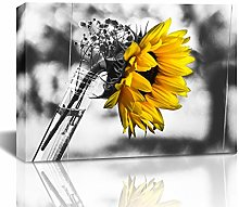 Blanche Large Black and White Yellow Sunflower