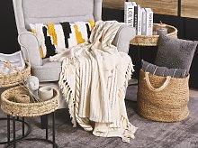 Blanket Beige Cotton with Tassels Rectangular 128 x 164 cm Bed Throw Decoration