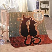 Blanket Black Cat Animal Flannel Fleece Throw