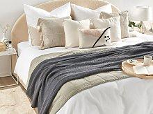 Blanket Dark Grey Cotton 130 x 180 cm Bed Throw