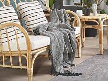 Blanket Light Grey Cotton with Tassels Rectangular 140 x 164 cm Bed Throw Decoration