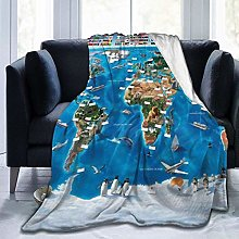 Blanket Map of The World Wall Soft Warm Throw Over