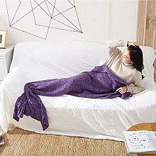 Blanket Mermaid Tail Blanket Yarn Knitted Handmade