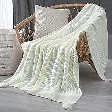 Blanket Thread Blanket With Tassel Solid Beige